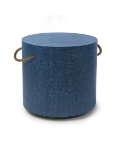 Nautical Round Accent Table With Rope Handles and Wheels - Available in 3 Colors