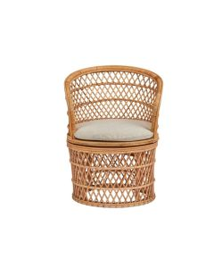 Natural Rattan Barrel Chair with Cream Cushion - ON BACKORDER UNTIL NOVEMBER 2021