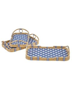 3pc Nested Tray Set in Navy/White Star Pattern