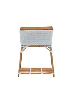 White Woven Party Bucket with Cutting Board Top