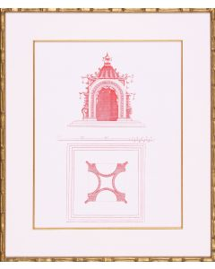 Pink Pagoda Architectural Lithograph Wall Art in Gold Frame