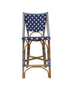 White and Navy Blue Star Patterned Bistro Counter Chair