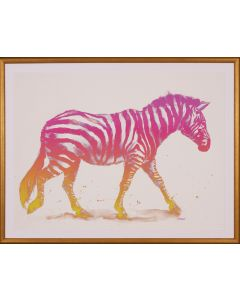 Pink Ombre Zebra Wall Art in Gold Frame