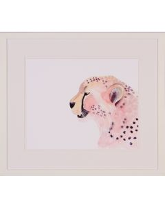 Pastel Sunset Cheetah Framed Lithograph in White Frame