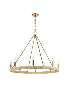 8-Light Chandelier with Abaca Rope Accents in Satin Brass Finish- ON BACKORDER MID-LATE MAY