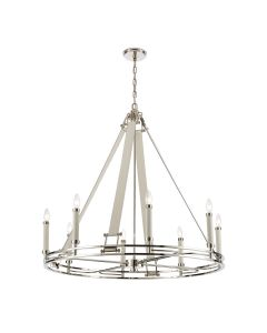 8-Light Glam Chandelier in Polished Nickel Finish with Leather Accents