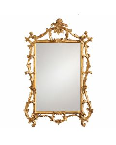 Gold Leaf Chippendale style Carved Wood Mirror