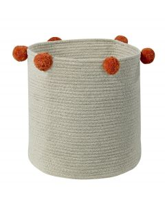 Washable Woven Cotton Natural Nude Storage Basket with Red Pom Poms