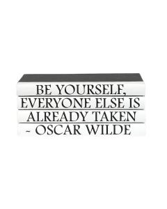 """""""Be Yourself, Everyone Else Is Already Taken"""" Oscar Wilde Black and White 4 Volume Decorative Book Set"""
