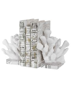 Faux White Coral Bookends with Crystal Base