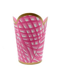 Hand Painted Palm Tulip Wastebasket with Gold Trim - Available in Three Colors (PINK & GREEN ARE SOLD OUT)