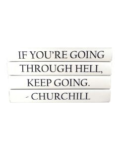 """""""If You Are Going Through Hell, Keep Going"""" Winston Churchill Quote 4 Volume Decorative Book Set"""