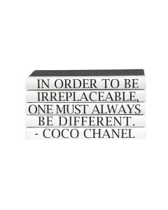 """""""In Order To Be Irreplaceable, One Must Always Be Different"""" Coco Chanel Quote 5 Volume Decorative Book Set"""