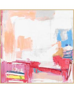 Abstract Pastel Happiness Dripping Paint Style Framed Wall Art