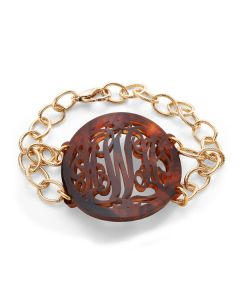 Isobel Acrylic Monogram Bracelet with Gold or Silver Chain