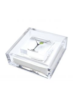 Acrylic Cocktail Napkin Holder with Martini Weight