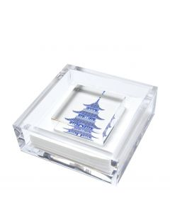 Acrylic Cocktail Napkin Holder with Printed Weight - Three Colors Available
