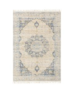 Alina Blue and Beige Area Rug With Tassel Fringe - Available in a Variety of Sizes