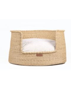 All Natural Elephant Grass Basket with Cushion Dog Bed - Available in Three Sizes