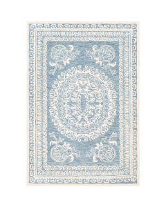 Allison Blue and White Hand Tufted Floral Scroll Wool Area Rug - Available in a Variety of Sizes