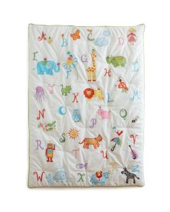 Alphabet and Animals Embroidered Quilt for Toddlers