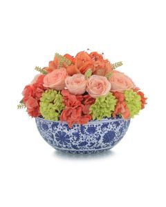 Amaryllis Roses and Hydrangeas in a Blue and White Ceramic Bowl