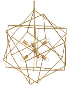 Angular Iron Chandelier with Gold Leafed Finish