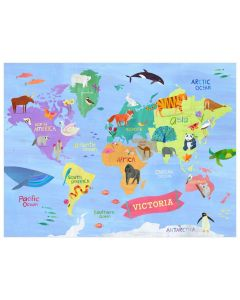 Animals Around The Globe Multicolor Canvas Wall Art for Kids