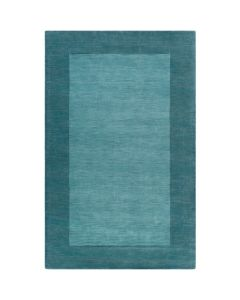 Aqua and Teal Hand Loomed Wool Rectangular Rug with Border, Available in a Variety of Sizes