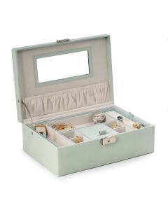 Aqua Blue Debossed Leather Jewelry Box with Soft Velour Lining