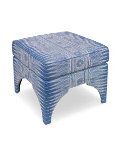 Architectural Inspired Design Upholstered Ottoman in Blue