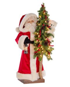 Arctic Explorer Table Top Decorative Santa With Tree, 2nd Edition