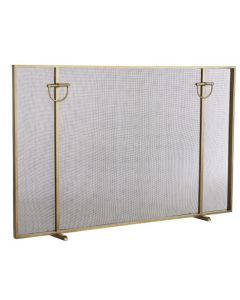 Arteriors Antique Brass Brooklyn Fireplace Screen With Horse Bridle Accents