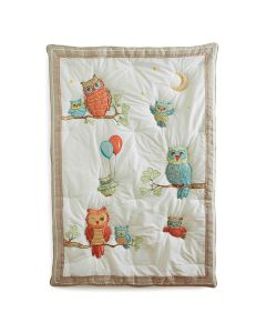 Baby Owls Embroidered Quilt for Toddlers