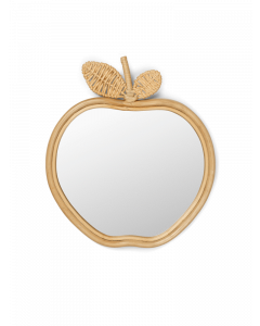Bamboo and Rattan Apple Shaped Wall Mirror
