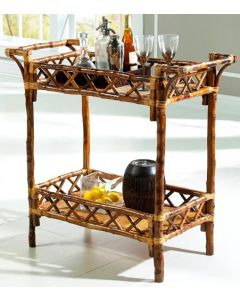 Bamboo Style Beverage Stand in Antique Tortoise Finish