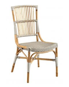 Grey & White French Bistro Bamboo Riviera Dining Side Chair