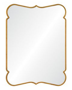 Barclay Butera Distressed Gold Leaf Rectangular Scalloped Wall Mirror