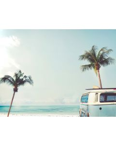 Beach and Palm Tree Mural Wall Decal