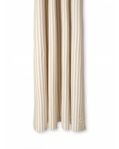 Beige and White Striped Chambray Shower Curtain
