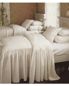 White Brushed Cotton Twill Dressmaker Detail Ruffled Bedding Collection - Variety of Options Available