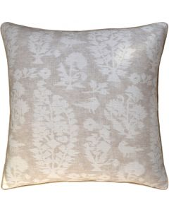 Birds and Flowers Decorative Throw Pillow in Beige – Available in Two Sizes