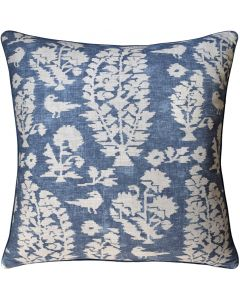 Birds and Flowers Decorative Throw Pillow in Slate Blue – Available in Two Sizes