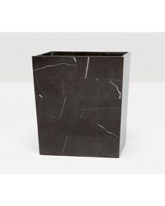 Pigeon & Poodle Rhodes Black and White Nero Marble Wastebasket with Optional Tissue Box