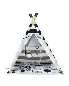 Black and White Striped Activity Play Gym Teepee for Babies