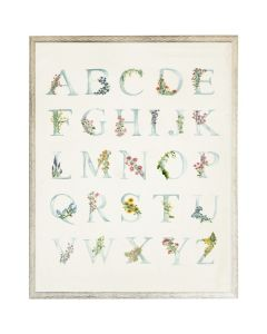 Blue ABCs with Floral Accents Wall Art with Size and Frame Options