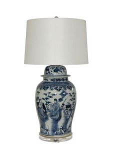 Blue And White Porcelain Eight Immortals Temple Jar Table Lamp