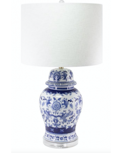 Blue and White Flower Design Ceramic Table Lamp with Shade