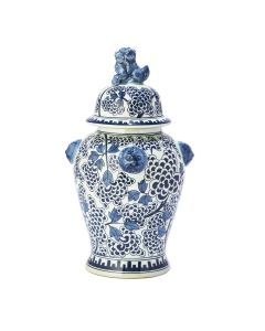 Set of Two Blue and White Peony Flower Design Porcelain Covered Temple Jars - ON BACKORDER UNTIL LATE JULY 2021