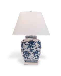 Blue and White Porcelain Dragon Table Lamp with Nickel Hardware - ON BACKORDER UNTIL MAY 2021